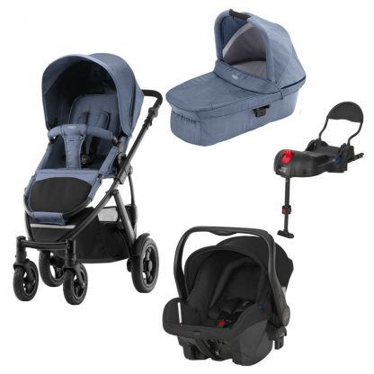 Britax Rejsepakke Smile 2, Duovogn, Blue Denim + Primo Baby Autostol + ISOfix Base