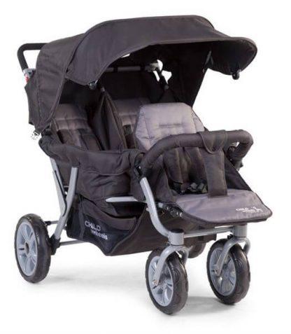 Klapvogn til 3 børn, inkl. regnslag - Childhome