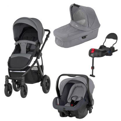 Britax Rejsepakke Smile 2, Duovogn, Steel Grey + Primo Baby Autostol + ISOfix Base Bundle