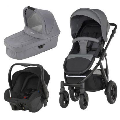 Britax Rejsepakke Smile 2, Duovogn, Steel Grey + Primo Babyautostol Bundle