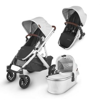 UPPAbaby UPPAbaby Siblings Stroller VISTA V2 Stroller + VISTA/CRUZ 2 Carrycot + VISTA V 2 Rumble Seat 2 Bryce Grey White