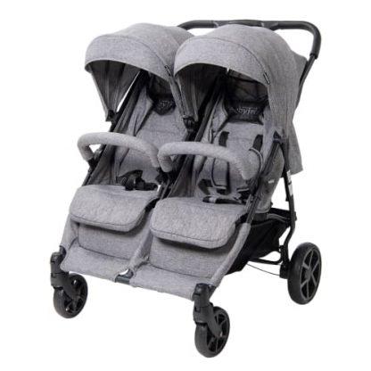 BabyTrold tvillinge-/søskendeklapvogn - OS2 - Denim grå