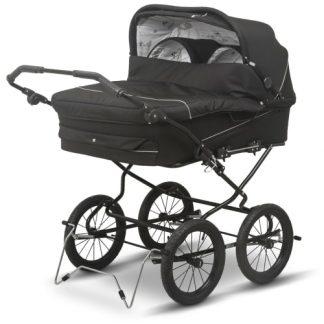 BabyTrold tvillingebarnevogn - Twin - Sort med sæltekstil